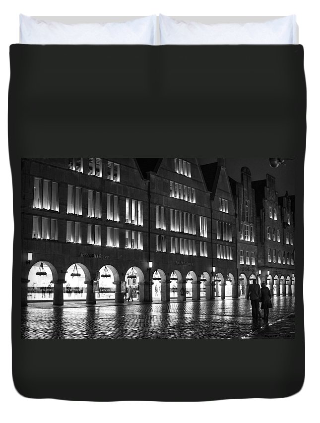 Duvet Cover featuring the photograph Cobblestone Night Walk In The Town by Miguel Winterpacht