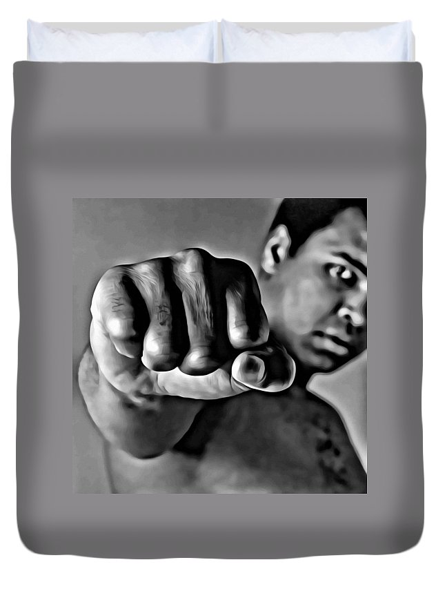 Sport Duvet Cover featuring the painting Muhammad Ali Fist by Florian Rodarte