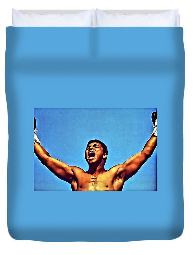 Sport Duvet Cover featuring the painting Muhammad Ali by Florian Rodarte