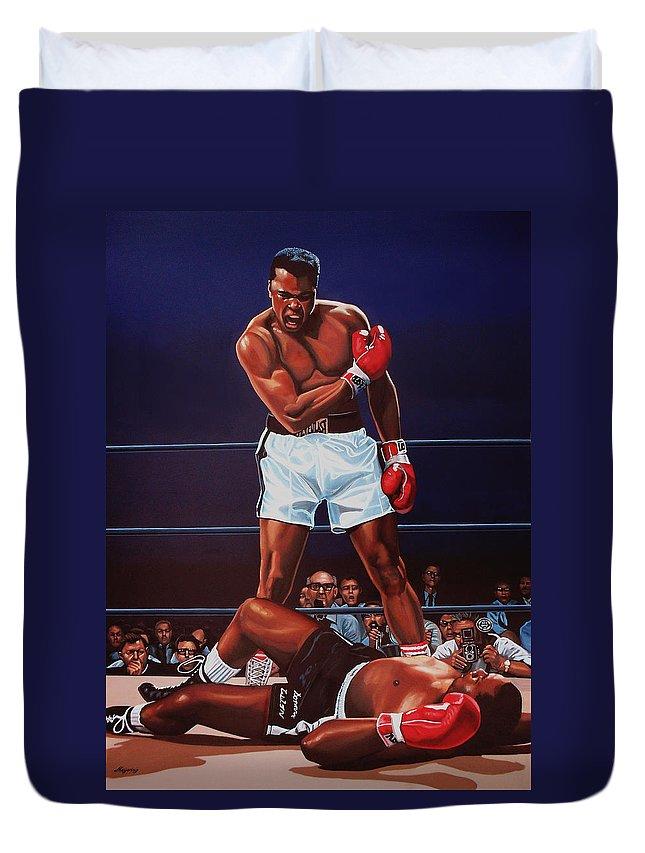 Mohammed Ali Versus Sonny Liston Duvet Cover featuring the painting Muhammad Ali versus Sonny Liston by Paul Meijering