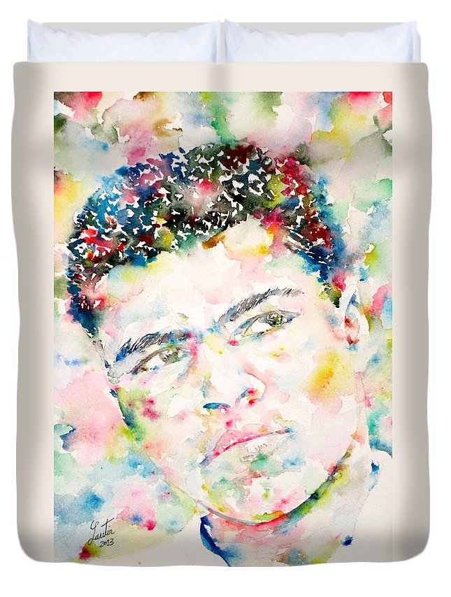 Muhammad Ali Duvet Cover featuring the painting Muhammad Ali - Watercolor Portrait.1 by Fabrizio Cassetta