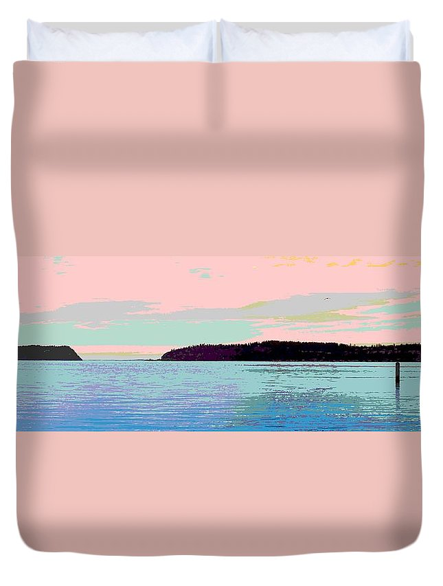 Abstract Duvet Cover featuring the digital art Mukilteo Clinton Ferry Panel 2 Of 3 by James Kramer