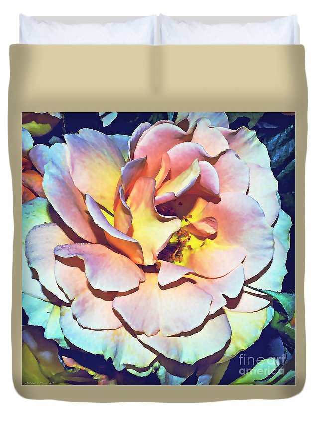 Nature Duvet Cover featuring the photograph Multicolor Rose Photoart by Debbie Portwood