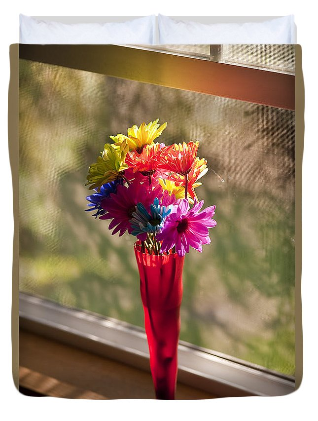 Balanced Duvet Cover featuring the photograph Multicolored Daisies On Window Sill by Jim Corwin