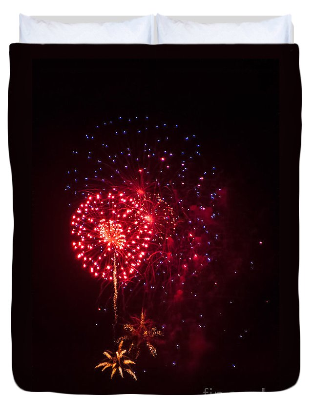 Fire Duvet Cover featuring the photograph Multicolored Fireworks by Photos By Cassandra