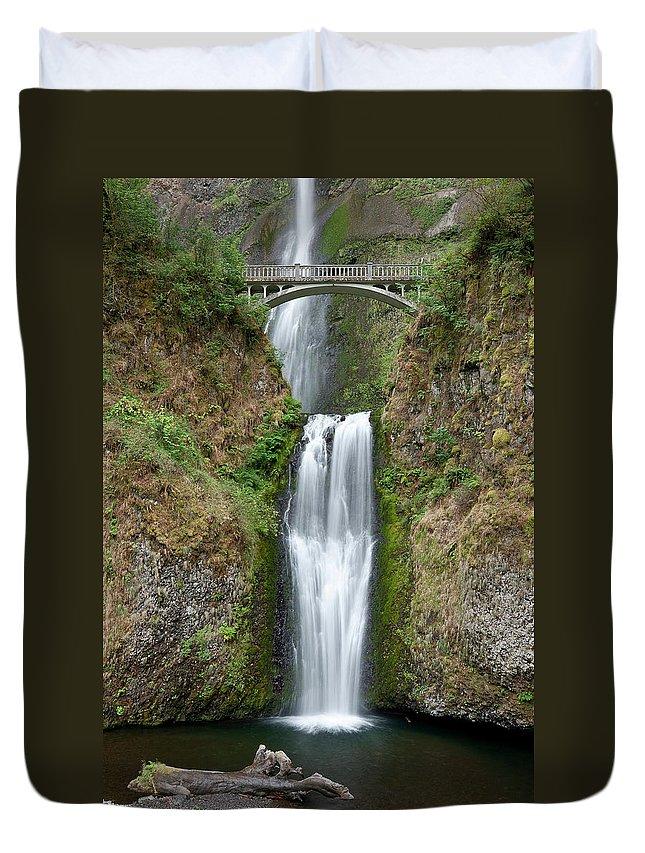Multnomah Falls Duvet Cover featuring the photograph Multnomah Falls by Greg Nyquist