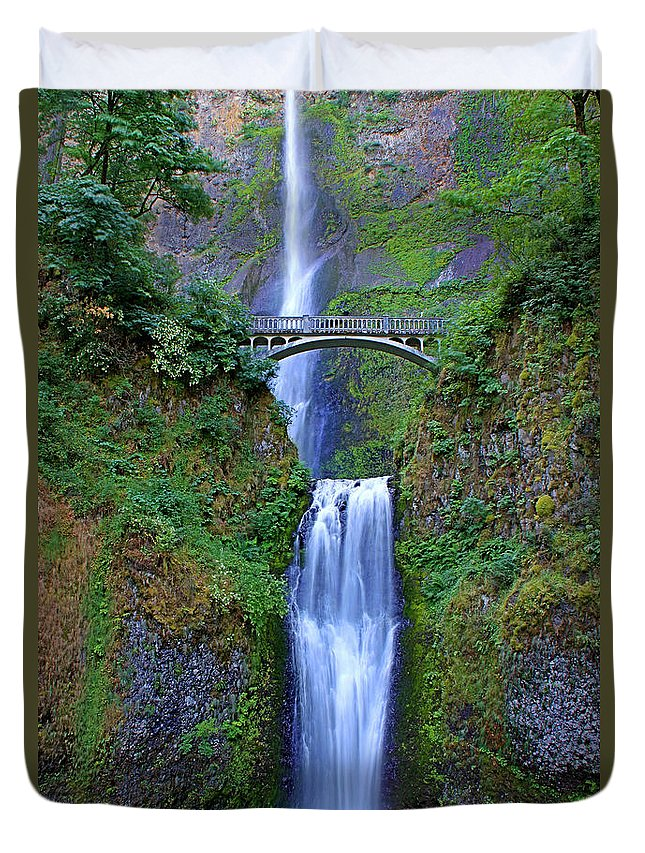 Falls Duvet Cover featuring the photograph Multnomah Falls by John Absher