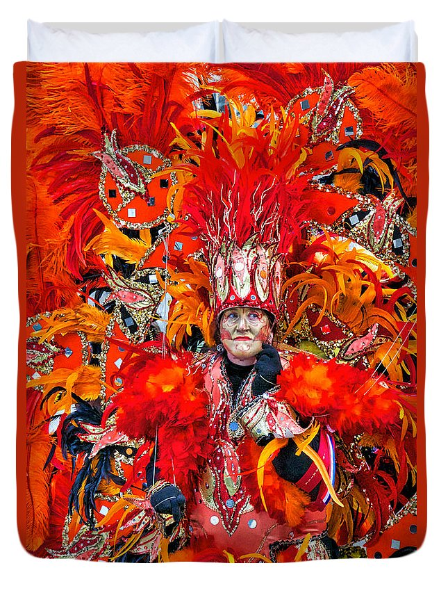 Mummers Duvet Cover featuring the photograph Mummer Red by Alice Gipson