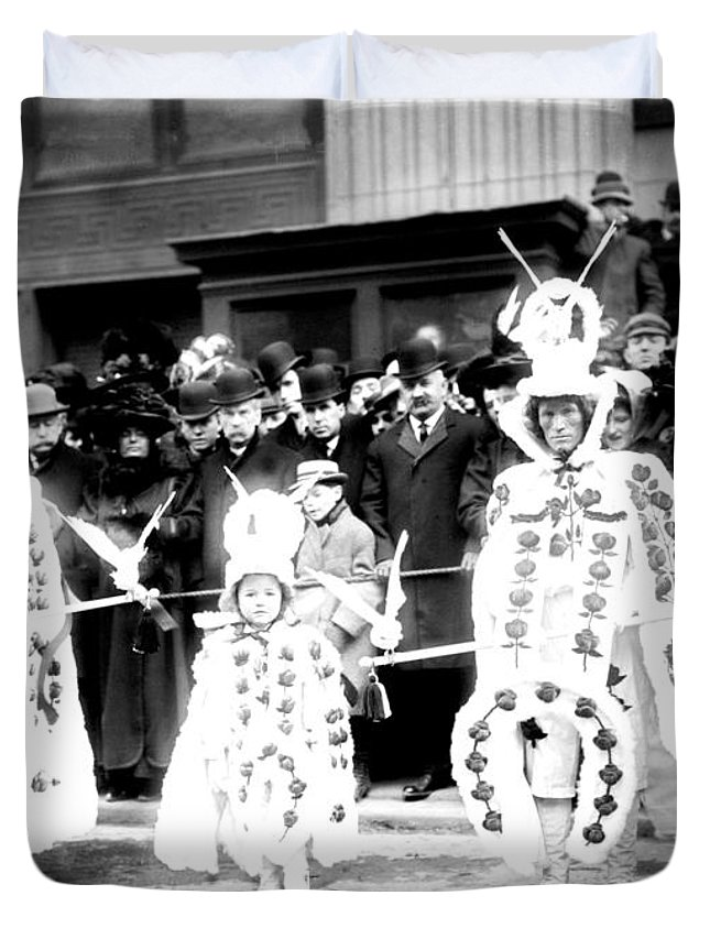 1909 Duvet Cover featuring the photograph Mummers Circa 1909 by Bill Cannon
