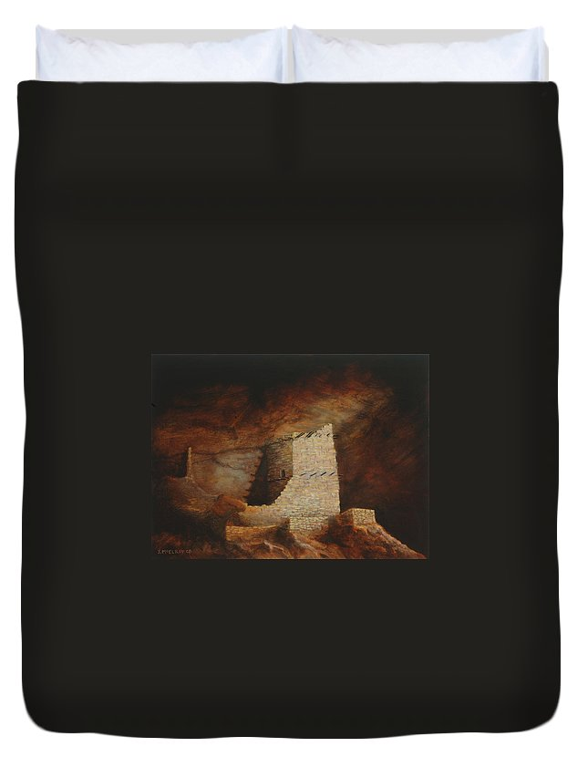 Anasazi Duvet Cover featuring the painting Mummy Cave by Jerry McElroy