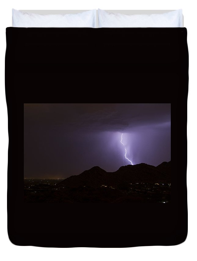 Arizona Lightning Photography Duvet Cover featuring the photograph Mummy's Heart Stopper by Cathy Franklin