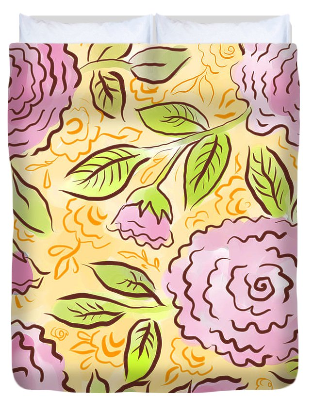 Pink Duvet Cover featuring the digital art Mums And Roses by Elaine Jackson
