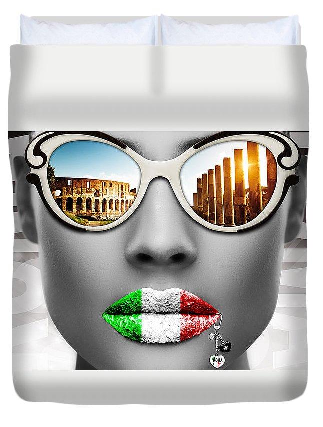 Woman Duvet Cover featuring the digital art Musa Roma by Jan Raphael