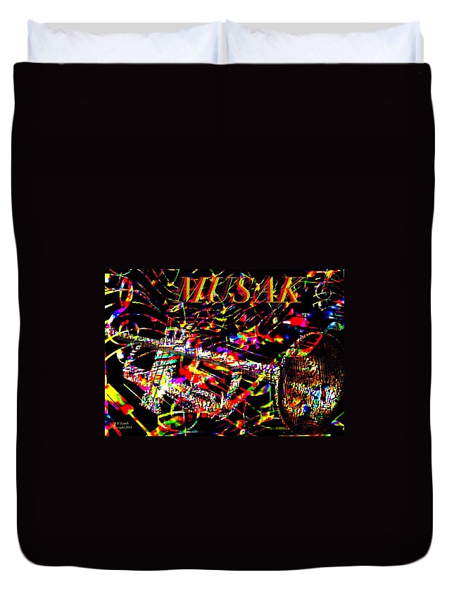 Art Duvet Cover featuring the painting Musak by Larry Lamb