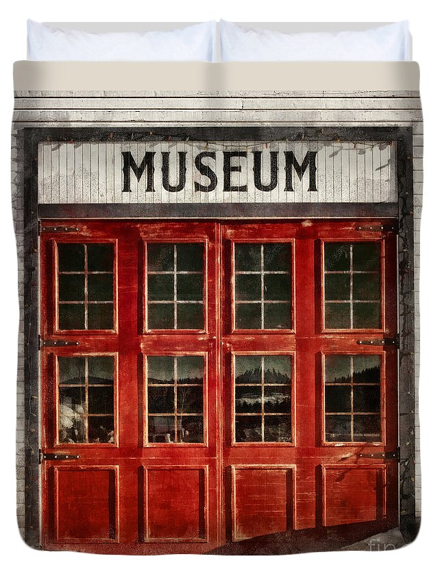 Firehall Duvet Cover featuring the photograph Museum by Priska Wettstein