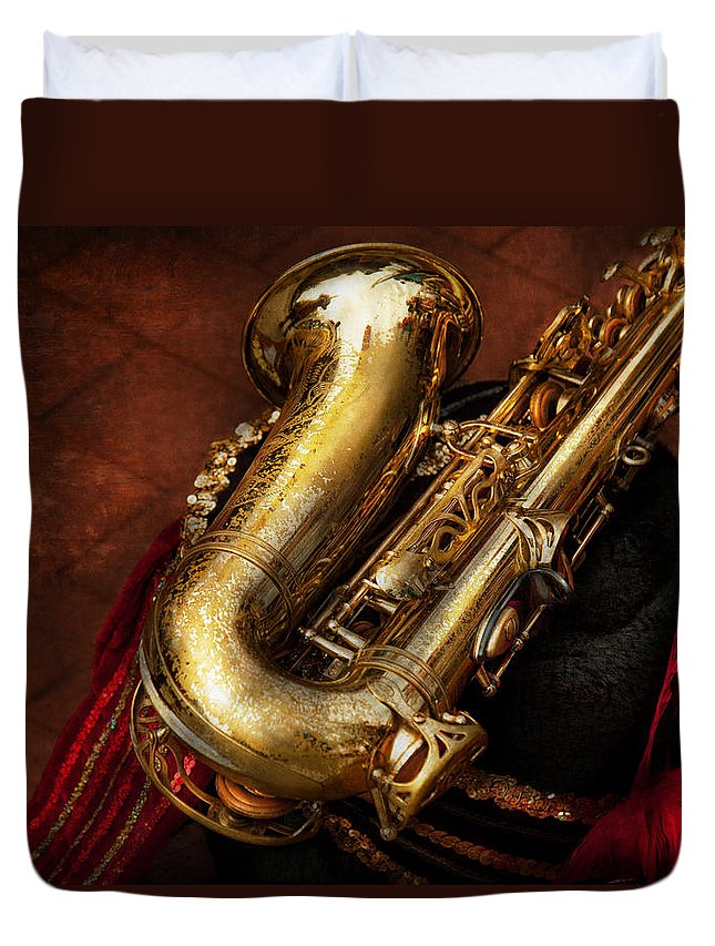 Hdr Duvet Cover featuring the photograph Music - Brass - Saxophone by Mike Savad