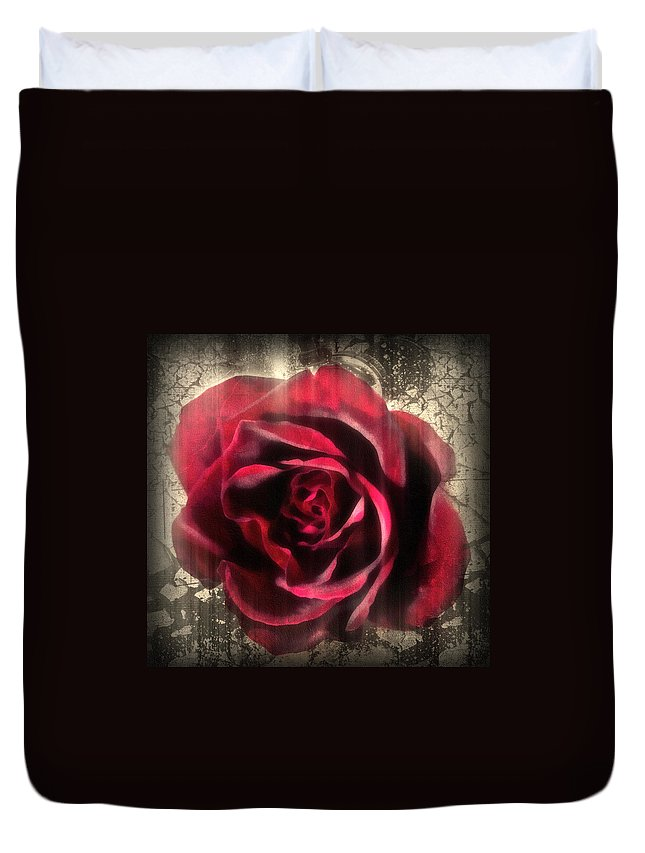 Rose Duvet Cover featuring the mixed media Music In The Night by Georgiana Romanovna