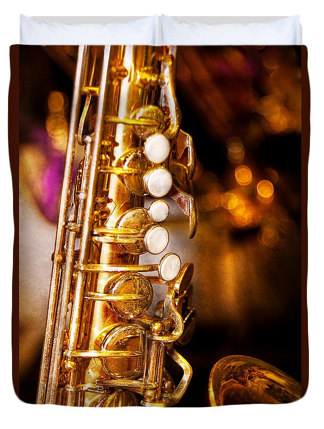 Savad Duvet Cover featuring the photograph Music - Sax - Sweet Jazz by Mike Savad
