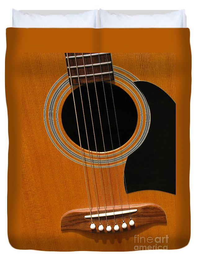 Guitar Duvet Cover featuring the photograph Musical Abstraction by Ann Horn