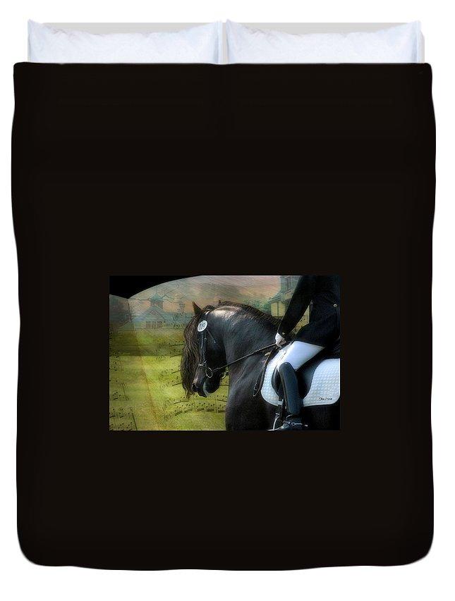 Friesian Horses Duvet Cover featuring the digital art Musical Freestyle by Fran J Scott