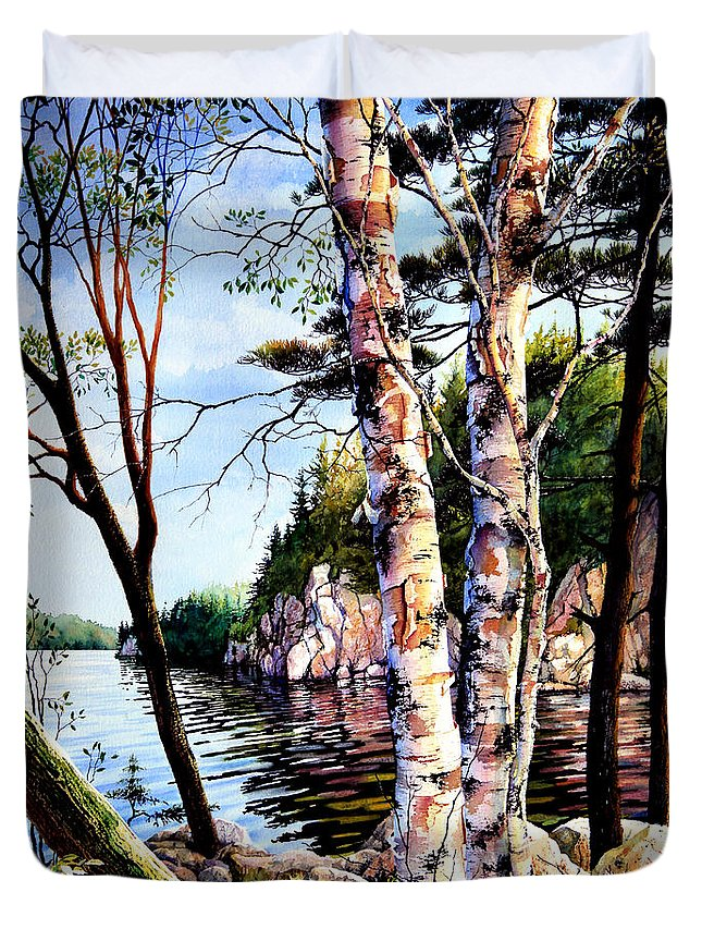 Muskoka Painting Duvet Cover featuring the painting Muskoka Reflections by Hanne Lore Koehler