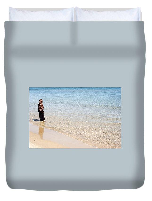 Islam Duvet Cover featuring the photograph Muslim Woman On The Beach 2 by Samir Hanusa