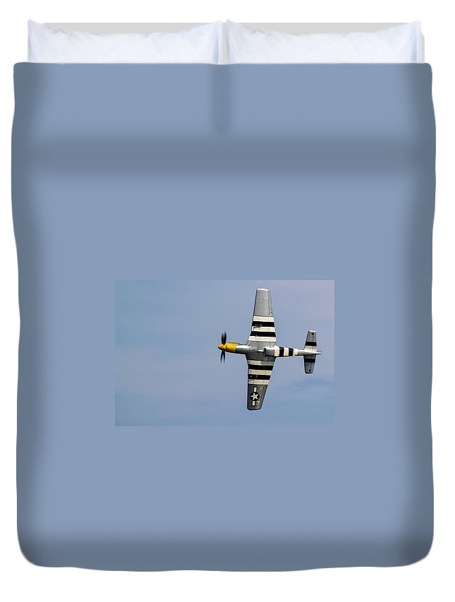 P-51d Duvet Cover featuring the photograph Mustang Flyby D-day by Scott Lyons
