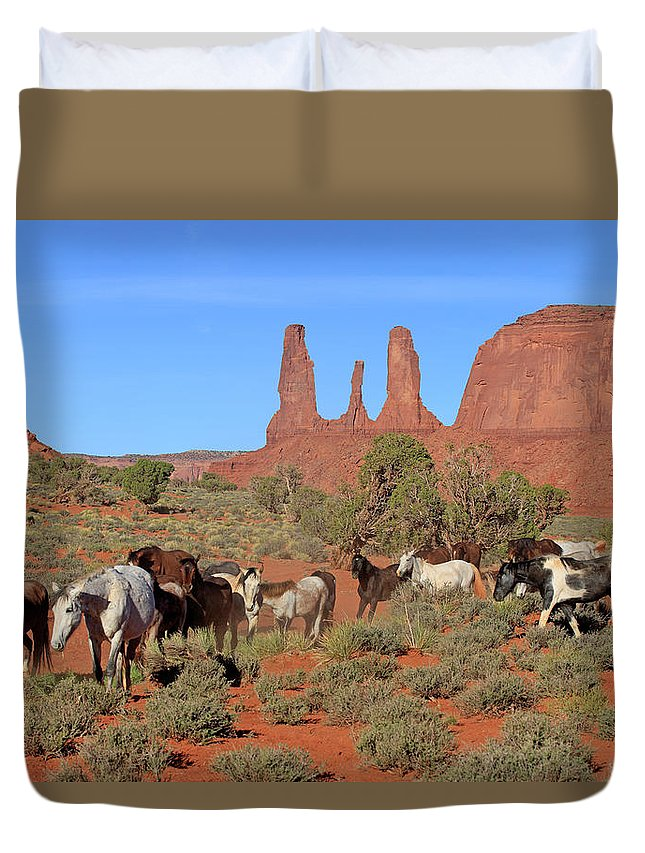 Scenics Duvet Cover featuring the photograph Mustang by Tier Und Naturfotografie J Und C Sohns