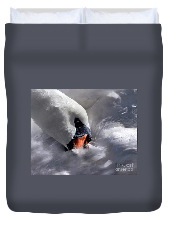 Swan Duvet Cover featuring the digital art Mute Swan by Dale  Ford