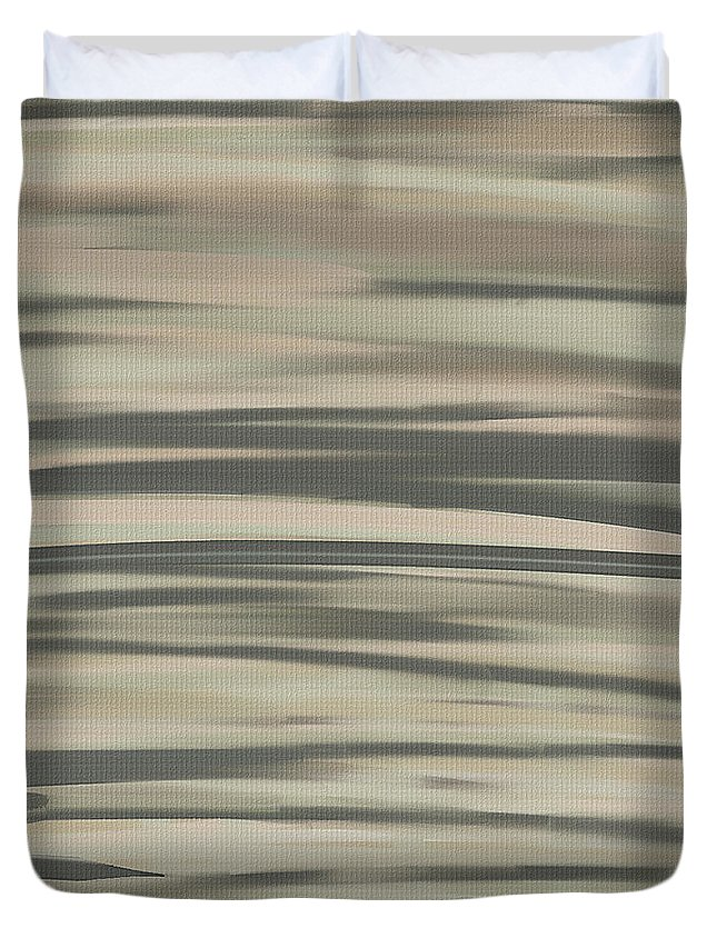 Charcoal Gray Duvet Cover featuring the painting Muted Shades by Lourry Legarde
