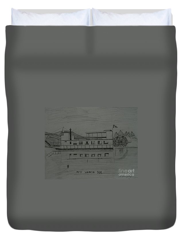 Canada Duvet Cover featuring the drawing Mv Wanda Sue by Anthony Dunphy