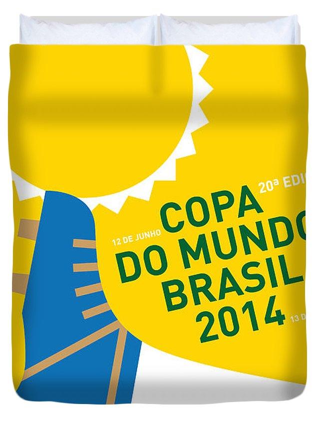 Brazil Duvet Cover featuring the digital art My 2014 World Cup Soccer Brazil - Rio Minimal Poster by Chungkong Art