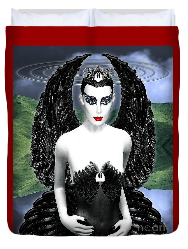 Black Swan Duvet Cover featuring the digital art My Black Swan by Keith Dillon