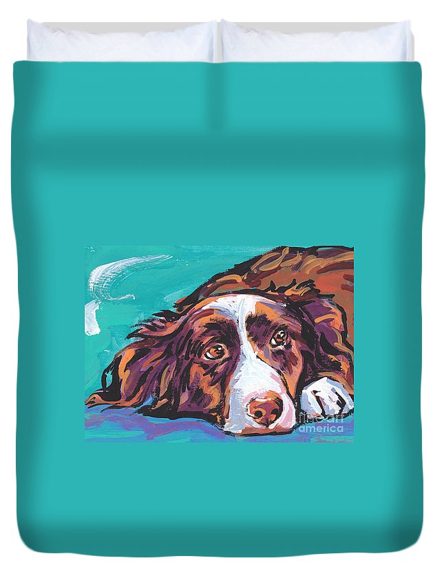 Border Collie Duvet Cover featuring the painting My Border by Lea S