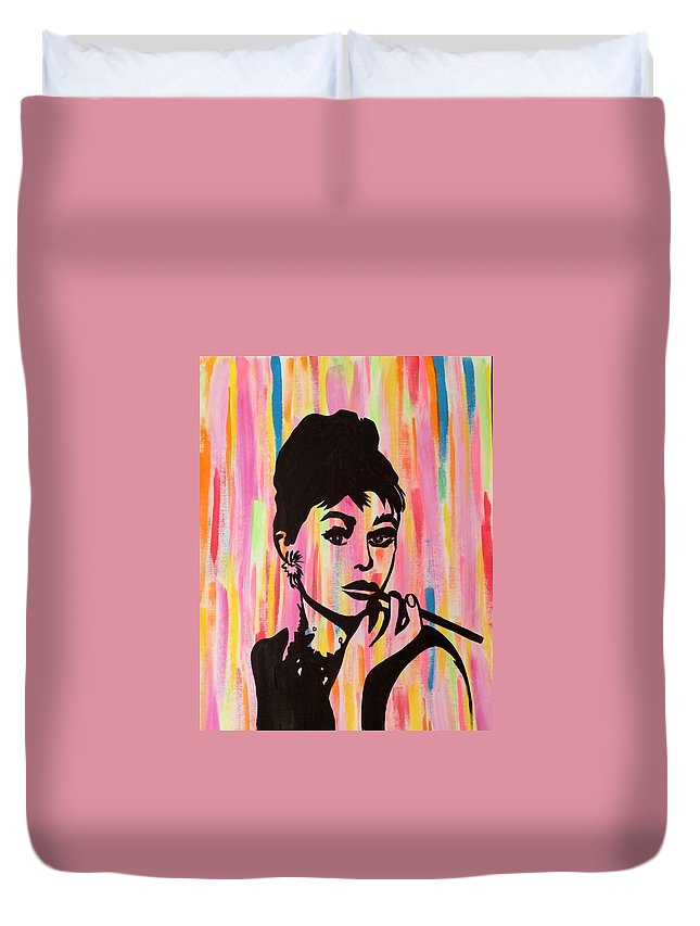 Audrey Hepburn Duvet Cover featuring the painting My Fair Lady by Surbhi Grover