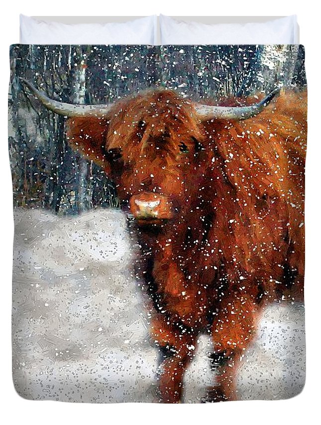 Bull Duvet Cover featuring the painting My Feets Are Cold by RC DeWinter