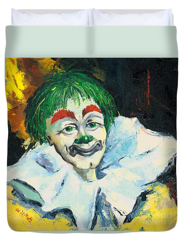 Canvas Prints Duvet Cover featuring the painting My Friend by Elisabeta Hermann