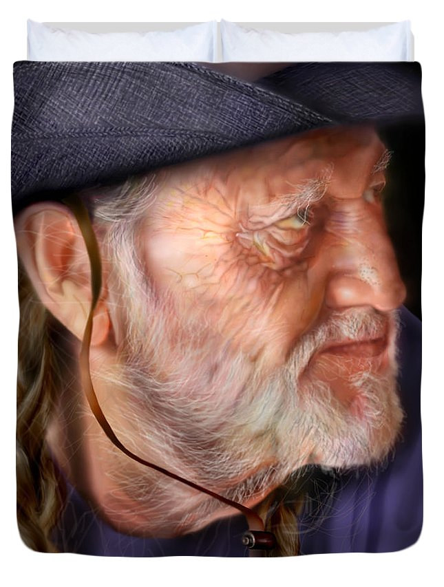 Willie Nelson Duvet Cover featuring the painting My Man Willie by Reggie Duffie