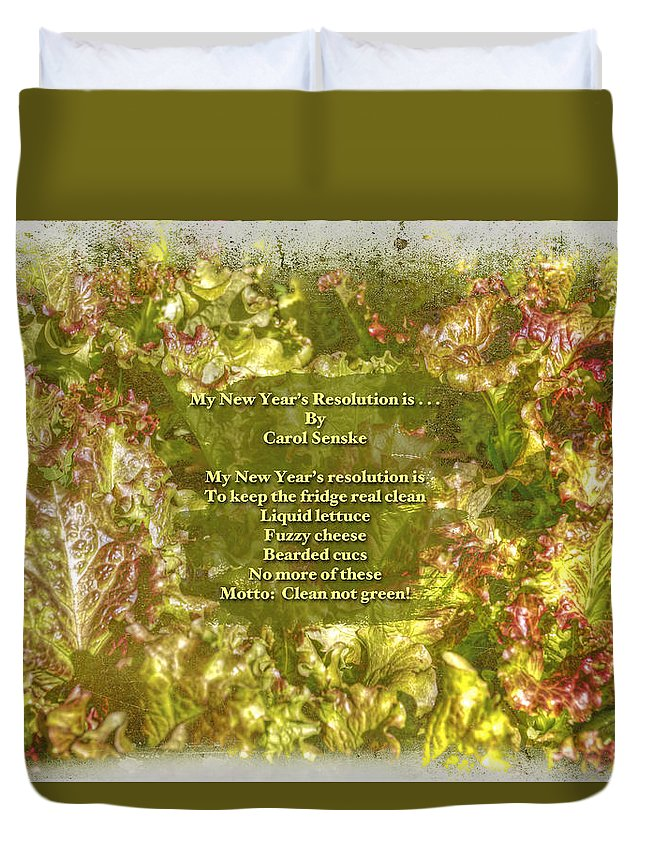 Poem Duvet Cover featuring the photograph My New Year's Resolution Is . . . Poem And Image by Mother Nature