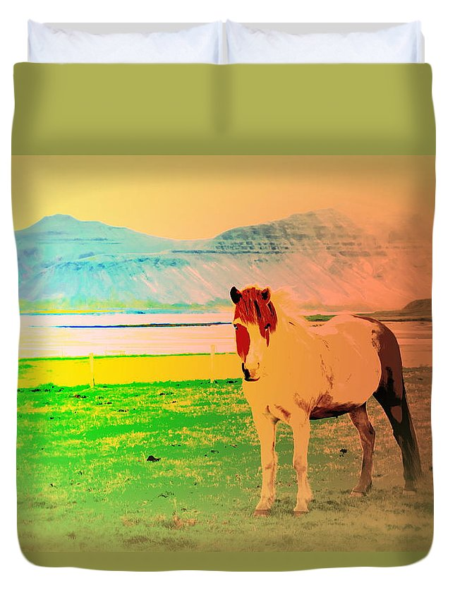 Iceland Duvet Cover featuring the photograph An Old Icelandic Mare, What Is Going On Inside Of Her by Hilde Widerberg