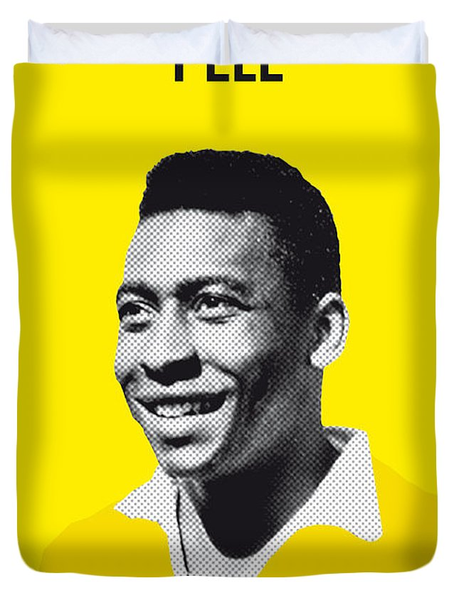 Beckenbauer Duvet Cover featuring the digital art My Pele Soccer Legend Poster by Chungkong Art
