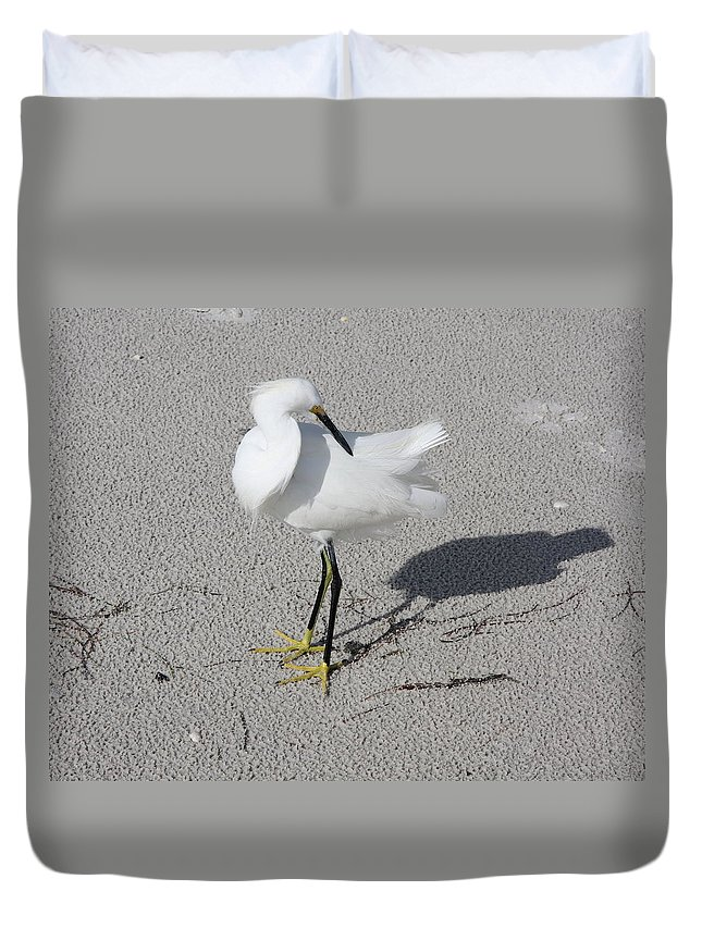 Snowy Egret Duvet Cover featuring the photograph My Shadow by Christiane Schulze Art And Photography