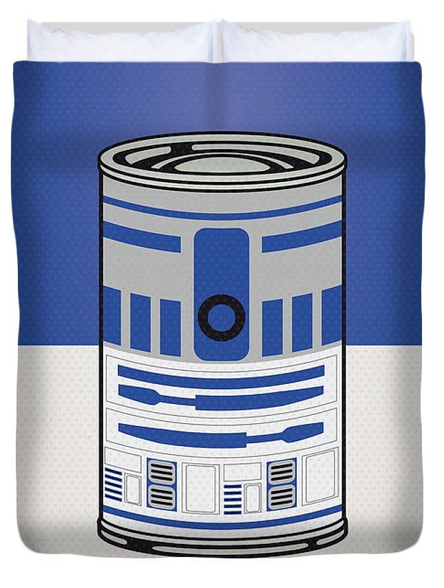 Star Duvet Cover featuring the digital art My Star Warhols R2d2 Minimal Can Poster by Chungkong Art