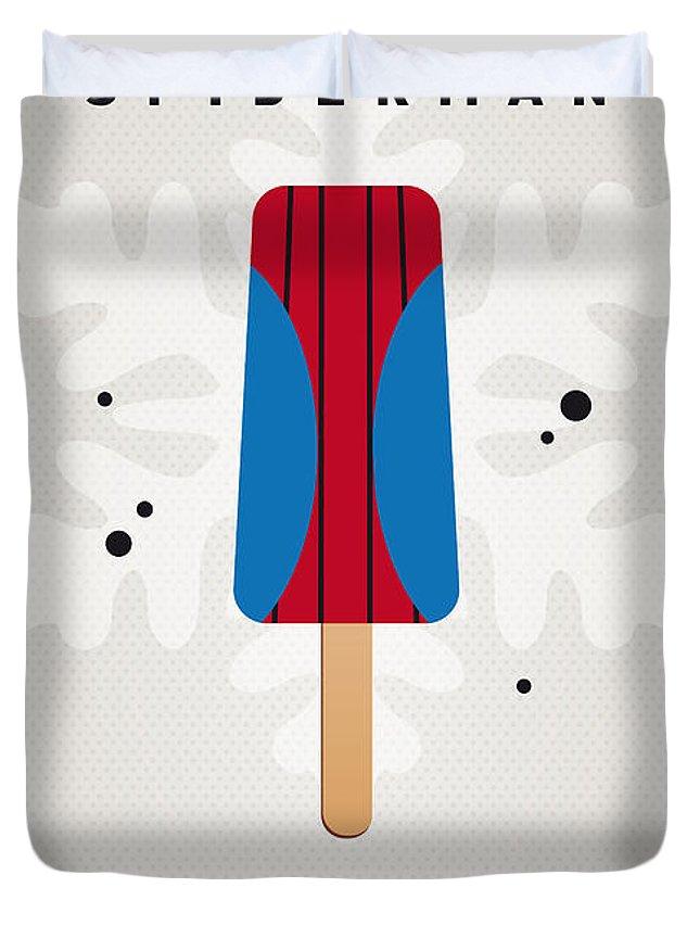 Superheroes Duvet Cover featuring the digital art My Superhero Ice Pop - Spiderman by Chungkong Art