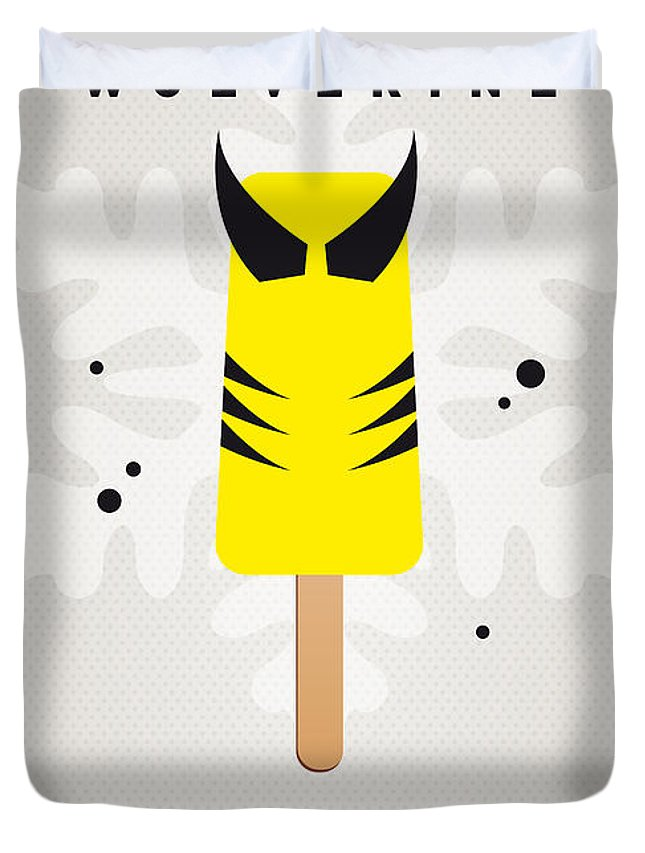 Superheroes Duvet Cover featuring the digital art My Superhero Ice Pop - Wolverine by Chungkong Art