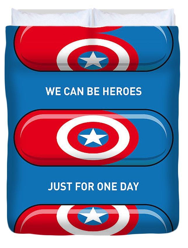 Superheroes Duvet Cover featuring the digital art My Superhero Pills - Captain America by Chungkong Art