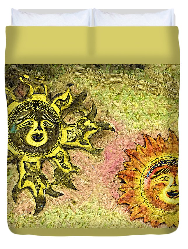 Suns Duvet Cover featuring the photograph My Two Suns by Kathy Clark