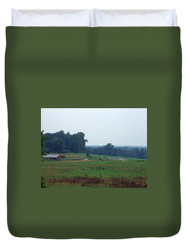 Horses Duvet Cover featuring the photograph My View by Lisa Wormell