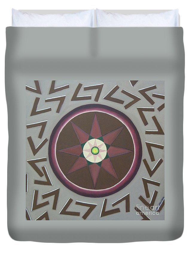 Yantra Duvet Cover featuring the painting My Yantra by Mini Arora