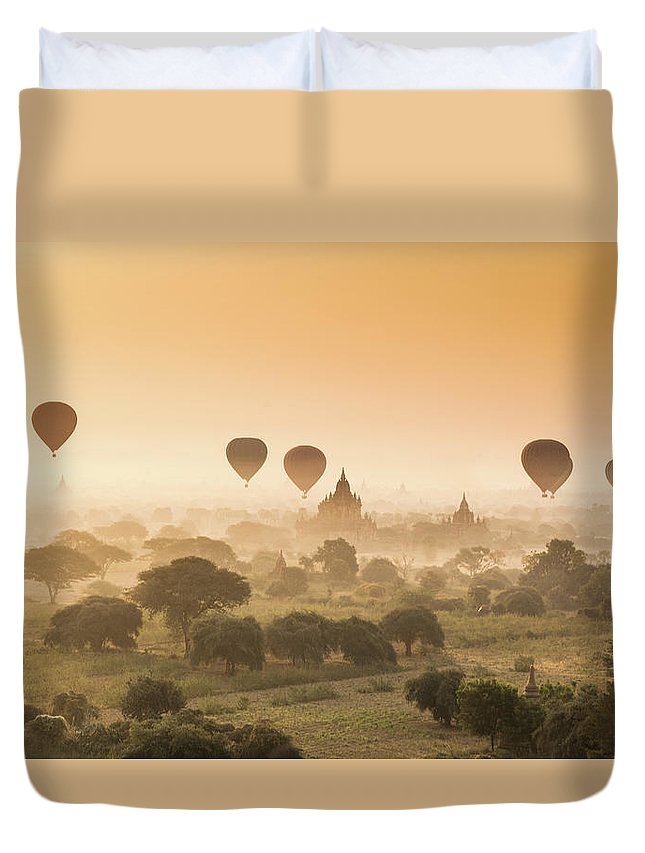 Tranquility Duvet Cover featuring the photograph Myanmar Burma - Balloons Flying Over by 117 Imagery